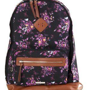MADDEN GIRL Black Floral Canvas Backpack Book Bag